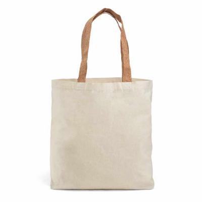 Sacola. 100% algodão: 180 g/m². Com bolso interior. Alças em cortiça de 60 cm. 450 x 400 x 105 mm