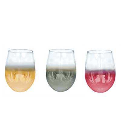 Copo Vidro Cristal P/ Vinho - Semi Cromado - 540ml - Elegance