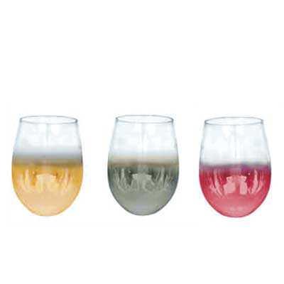 Copo Vidro Cristal P/ Vinho - Semi Cromado - 540ml - Elegance - Queen's Brindes