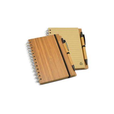 Servgela - Bloco de anotações personalizado com capa e caneta de bambu.