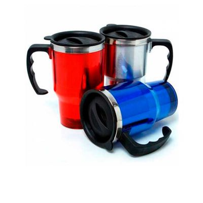 - Caneca personalizada com 400 ml, com alça de mão, em inox revestido de acrílico e impressão da logomarca em silkscreen.