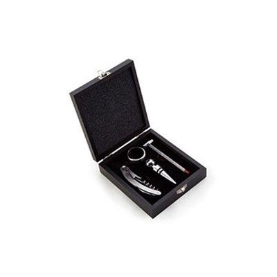 Servgela - Kit acessórios para vinho em caixa de madeira. Personalização da logo em silk na caixa. Contém: Uma tampa com bico, um saca rolhas, um termômetro e um...