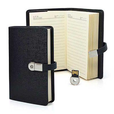 Servgela - Mini agenda personalizada com pen drive. Elegante, leve e portátil. Confeccionada com capa em couro sintético possui folhas pautadas. Com área nobre p...