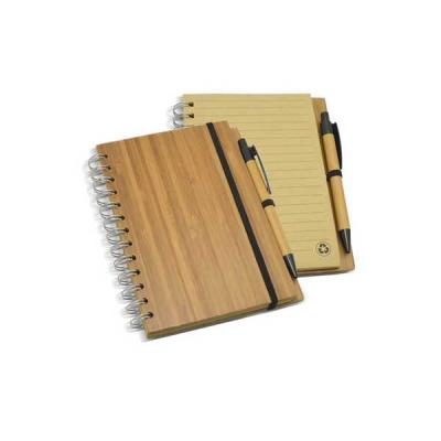 Bloco de Anotações com Capa de Bambu