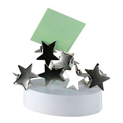 Servgela - Porta Clips com Imã Personalizado | Porta Clips Personalizado com base plastica magnética. Acompanha 6 prendedores metálicos em formato estrela. É o b...