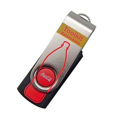 Pen drive Giratório Personalizado Promocional | Pen drive personalizado modelo SM. Impressão da logomarca em laser. Produto embalado individualmente em sacos plásticos. | ST PROMO PENSM
