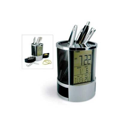 Porta Canetas com Relógio Digital e Porta Clips - Servgela