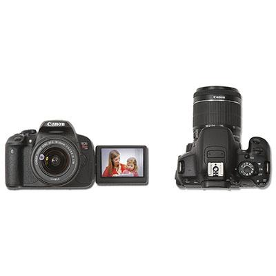 Câmera Canon SLR 18 MP com estabilizador de imagem e lente EF- S 18-55 IS STM.