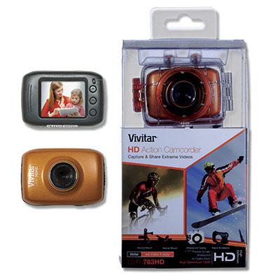 Câmera Vivitar filmadora de ação HD com caixa estanque e acessórios.