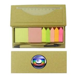 Connection Brindes - Bloco personalizado com adesivos régua e caneta em material reciclado.