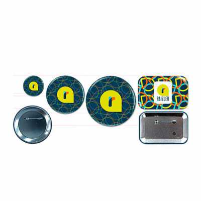 Button alfinete, 3,17cm; 5,7cm; 7,6cm; 7,6x5cm. Button ímã 5,7cm; 7,6x5cm. Button espelho 5,7cm; 7,6cm. - Raizler