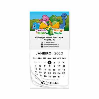 Bloco calendário padrão tamanho 5x5cm, com 12 vias, cor 1x0 ou personalizado, ímã tamanho 5x4cm, cores 4x0. - Raizler