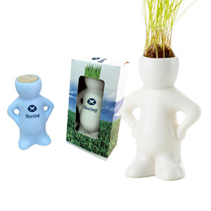 Boneco da sorte personalizado, feito em cerâmica. Seu cabelo cresce e você vai cortando. - SP Ecologia