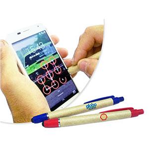 sp-ecologia - Caneta Touch, caneta ecológica 2 em 1, sendo caneta esferográfica e touch screen com ponta macia e corpo em papel reciclado