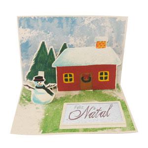 sp-ecologia - Cartão natalino feito em papel com efeito 3D e personalizado com semente de rúcula.