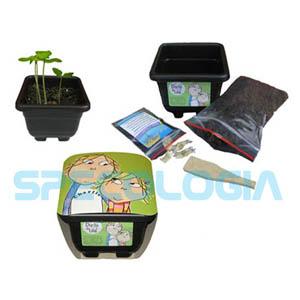 Kit para cultivo personalizado com os personagens Charlie e Lola. - SP Ecologia