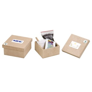 Kit para cultivo com caixa pequena de madeira personalizada.