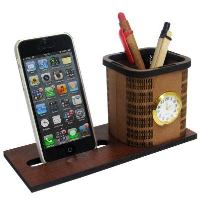 sp-ecologia - Porta canetas com suporte para celular