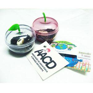 sp-ecologia - Potinho especial composto de uma semente mágica personalizada e um tag