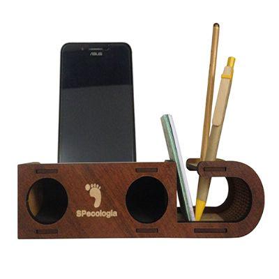 Speaker com porta-cartão, lápis e caneta - SP Ecologia