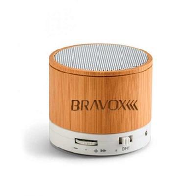 Caixa de som com microfone feita de bambu. Com transmissão por bluetooth, ligação stereo 3,5 mm e...