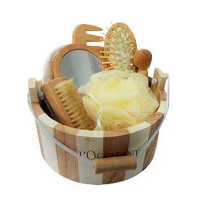 Kit banho com 7 peças de madeira Escova De Cabelo + Espelho + Bucha De Toque Suave + Bucha De Sis...
