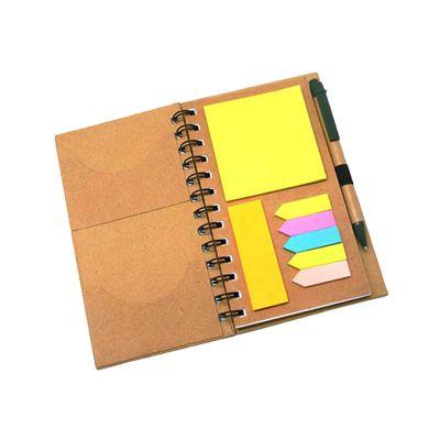 T7 Promocional - Caderno e caneta com sticky notes.