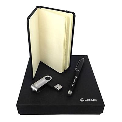 Kit escritório composto por Bloco estilo moleskine, caneta esferográfica com ponta para tablet e smartphone e pen drive.