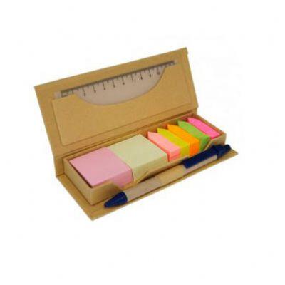 Tom Promocional - Bloco de anotações ecológico com caneta e Sticky notes. Bloco retangular de papelão com frente e verso liso.