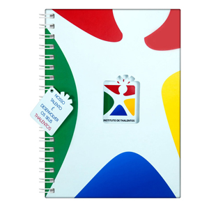 dz9-grafica - Caderno Personalizado - Linha colors com recorte - Capa dura 15 x 21 / 18 x 25 / 21 x 28 cm - folha institucional, dados e calendário, 96 folhas perso...