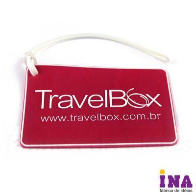 ina-brindes - Tag de bagagem emborrachado, gravação em alto relevo até 4 cores e verso personalizável. Consulte tamanhos e formatos especiais