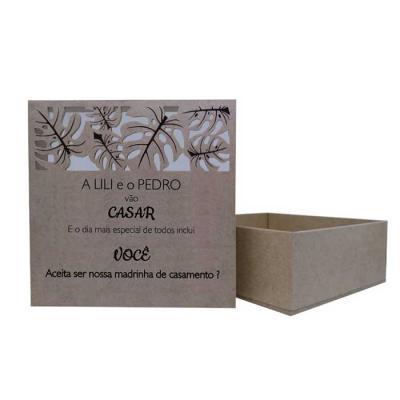 Ecologik Sustentáveis - Caixa em madeira de reflorestamento 3mm  com tampa (tipo cx sapato) personalizadas. Ideal para convites de casamento ou eventos. Convites para padrinh...