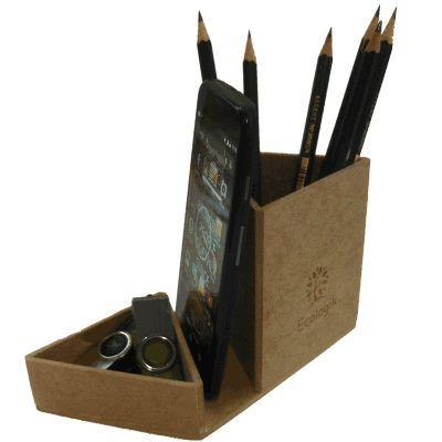 Ecologik Sustentáveis - Porta Lápis e clips personalizado triangular.