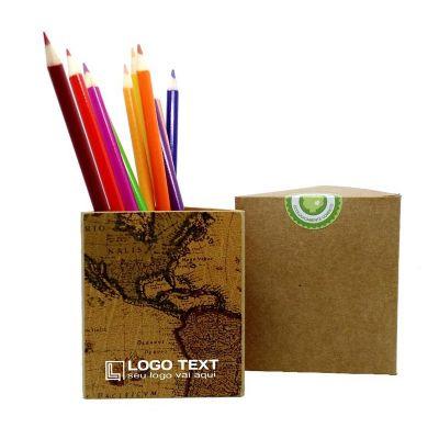 ecologik-sustentaveis - Porta lápis triangular mapa
