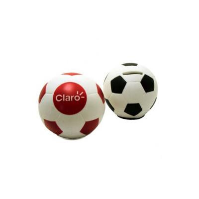 Polo Art - Cofre formato bola de futebol - fabricado em vinil emborrachado. Possui abertura na parte de cima para colocação de moedas
