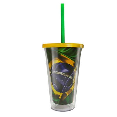Polo Art - Copo, design exclusivo, personalizado com a bandeira do Brasil, pode conter gravação extra na parte externa