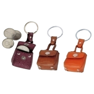 Spok Brindes - Chaveiro porta moedas em couro sintético com gravação personalizada.