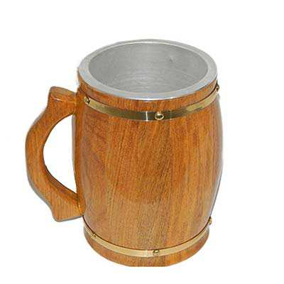 Armazém Brasileiro - Caneca de chopp 2 litros madeira cerejeira térmica com revestimento interno de alumínio.