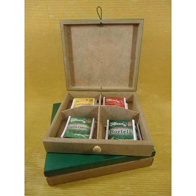 Kit chá com 01 estojo de madeira - Armazém Brasileiro