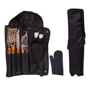 - Kit para churrasco personalizado, composto por maleta que vira avental, 01 garfo, 01 faca, 01 pegador de carne, 01 espátula, todas as peças em inox, c...