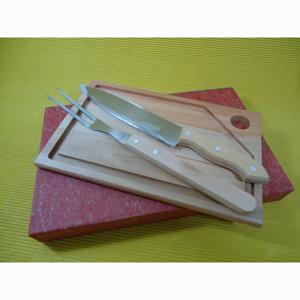 Armazém Brasileiro - Kit para churrasco personalizado, composto por 01 tábua de eucalipto rosado, medindo 30 x 20 x 2 cm, 01 faca e 01 garfo trinchante de inox com cabo de...