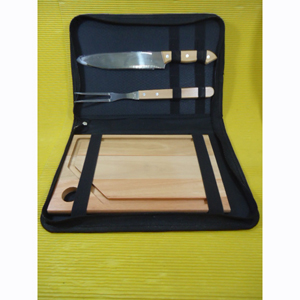 armazem-brasileiro - Kit para churrasco composto por 01 tábua de eucalipto rosado, medindo 30 x 20 x 2 cm, 01 faca e 01 garfo trinchante de inox com cabo de madeira em est...