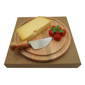 Kit personalizado para queijo composto por tábua redonda de 22 cm e uma faca de aço inox. Todo charme e elegância de sua marca presente na mesa de seus clientes.