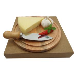 Armazém Brasileiro - Kit personalizado para queijo composto por tábua redonda de 22 cm e uma faca em aço inox. Leve sofisticação e elegância a mesa de seus clientes com e...