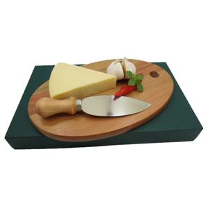 armazem-brasileiro - Kit personalizado para queijo composto por tábua oval de 26 x 15 cm e uma faca em aço inox. Sua marca presente na mesa de seus clientes com um produt...
