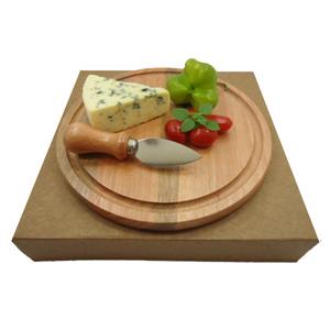 armazem-brasileiro - Kit personalizado para queijo composto por tábua redonda de 22 cm e uma de faca inox com cabo de madeira. Presenteie seus clientes com charme e elegâ...