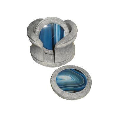 Porta copo personalizado, confeccionado em pedra sabão com ágata azul no centro e suporte. Sua marca na mesa de seus clientes com um produto criativo e personalizado.