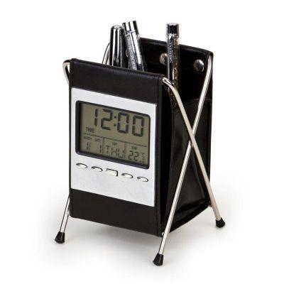 Potencial Brindes - Porta caneta com relógio