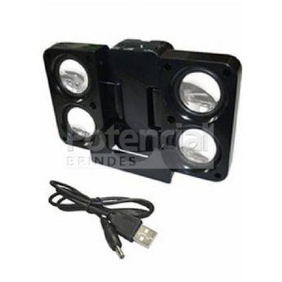 Potencial Brindes - Caixa de som portátil com cabo USB.