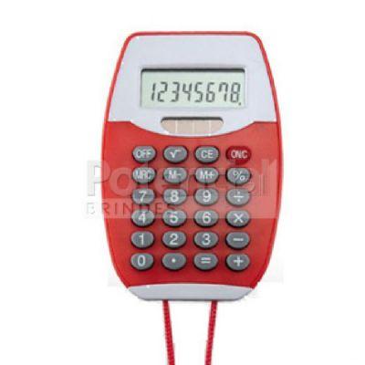 Calculadora de plástico personalizada com cordão. - Potencial Brindes